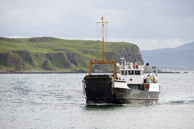 Car Ferry approaches Rathlin Island, Co Antrim